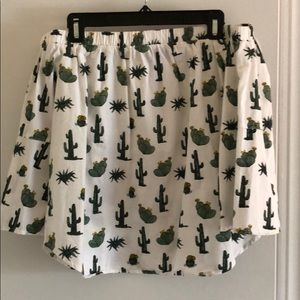Off the shoulder cactus print top